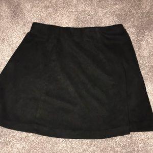 Suede black mini skirt
